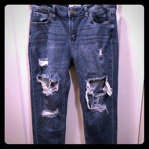 Fun shredded denim jeans